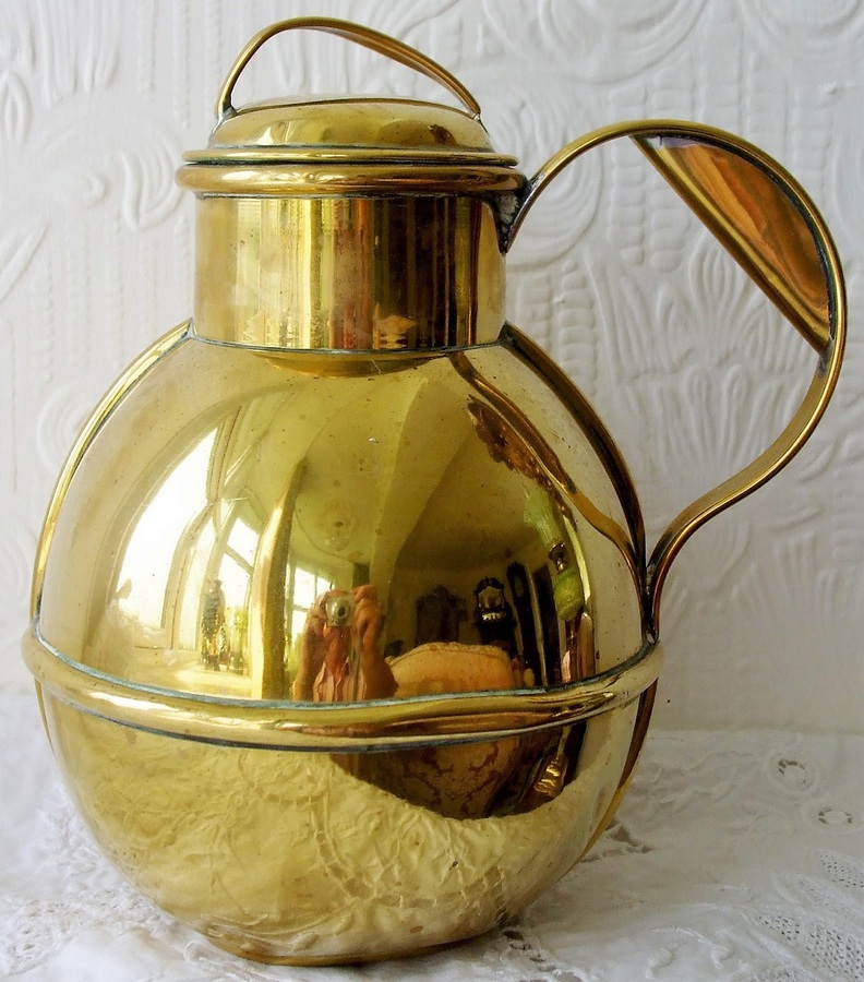"Antique Antique English Victorian Channel Islands Brass ""Quart"" Milk Can and Cover"
