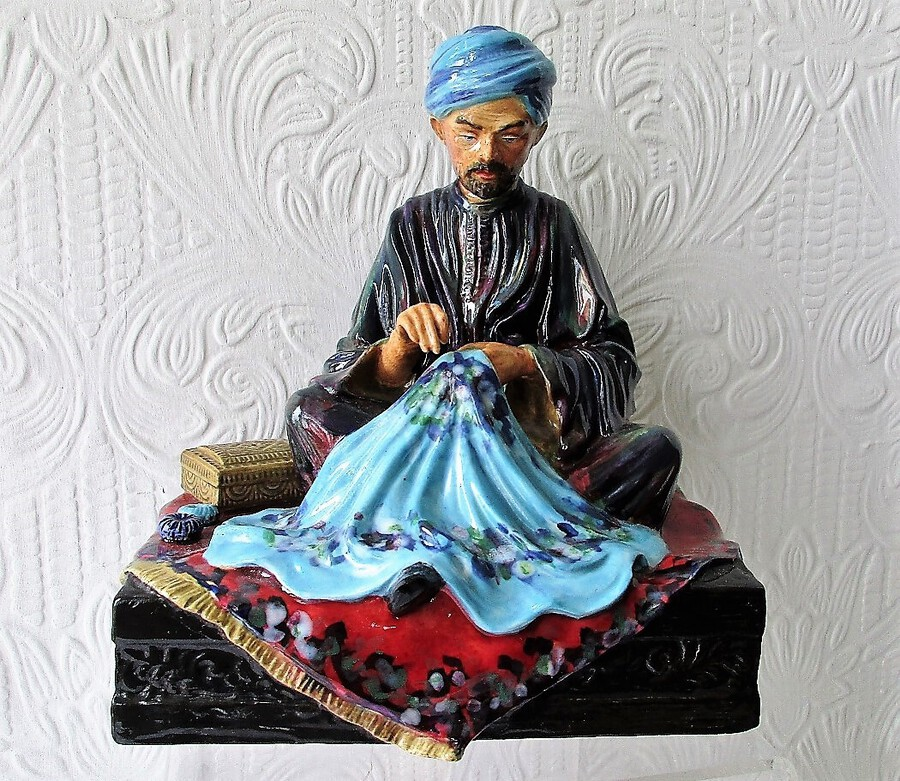"English Studio Pottery Porcelain Figurine ~ ""Embroiderer of Kashmir"" ~ Reginald Johnson"