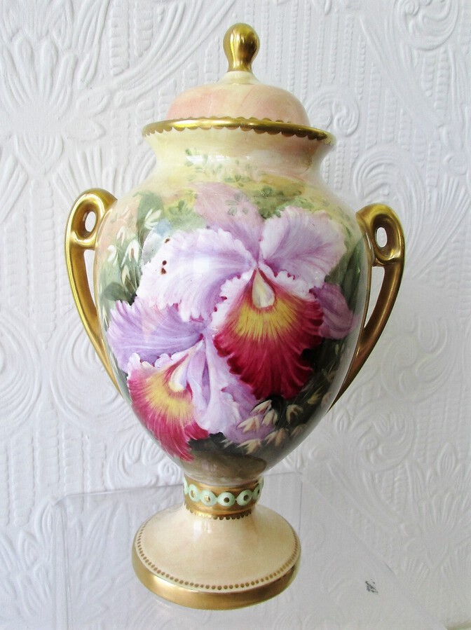 "English Porcelain Hand-Painted and Gilded Vase and Cover ~ ""Orchids and Roses"" ~ Reginald Johnson"