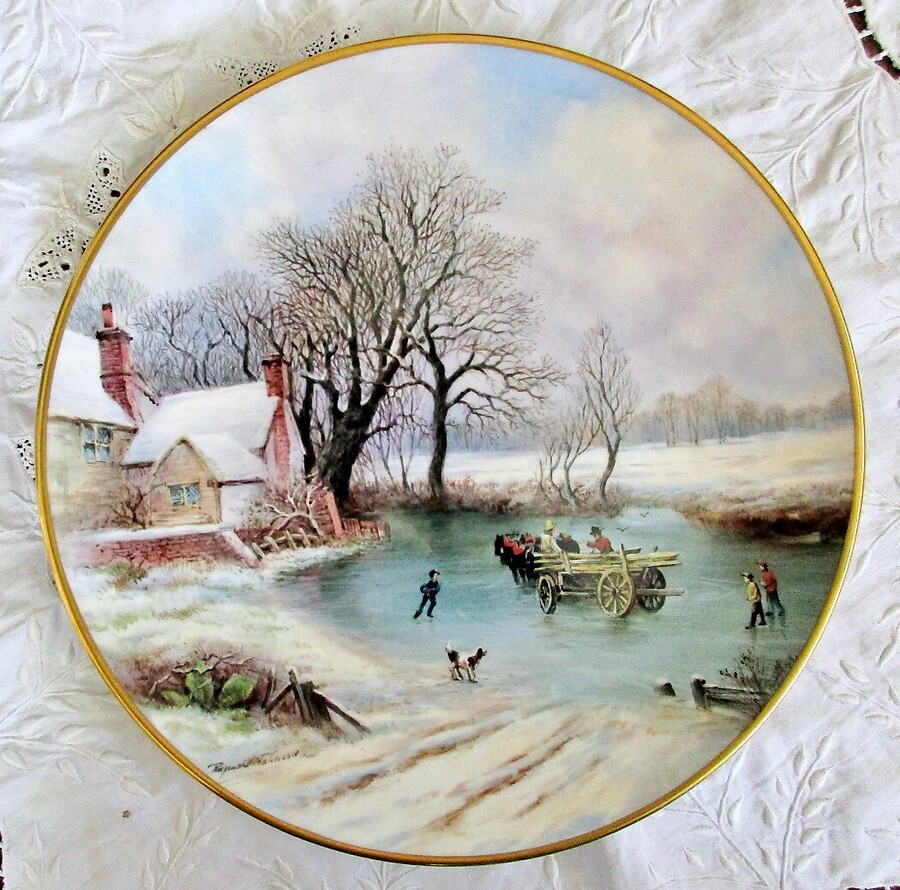 "English Porcelain Dished Cabinet Plate ~ ""John Constable's Haywain in Winter"" ~ Reginald Johnson"