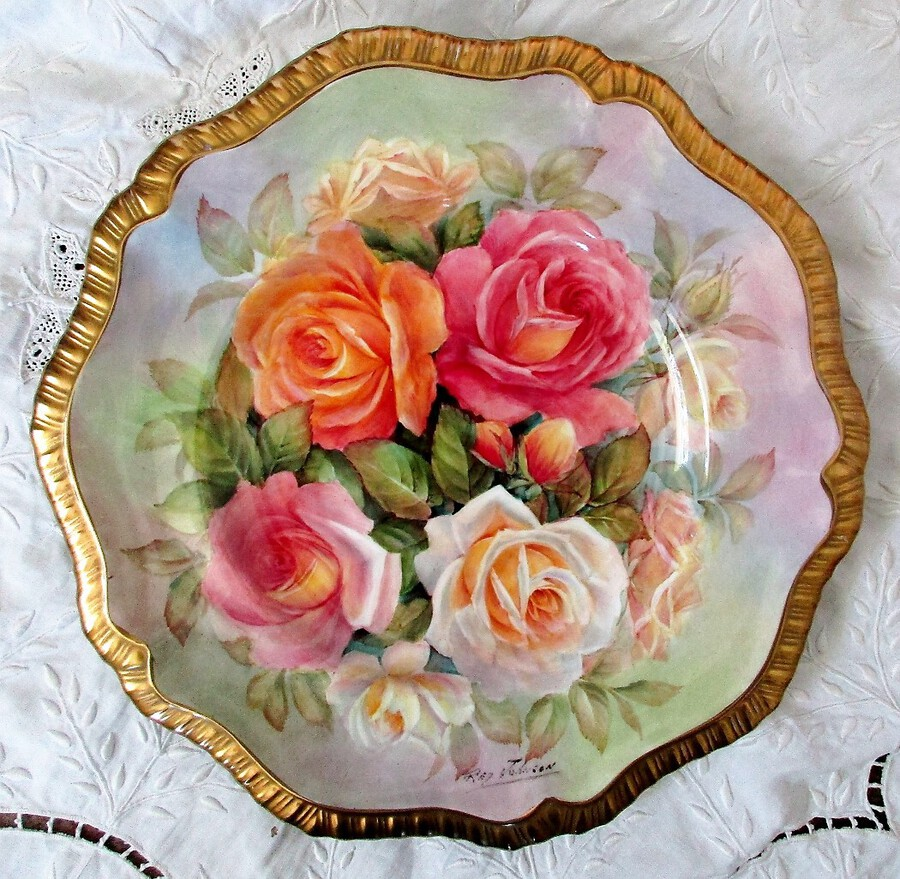 "English Porcelain Cabinet Plate ~ ""Rose Bouquet"" ~ Reginald Johnson"