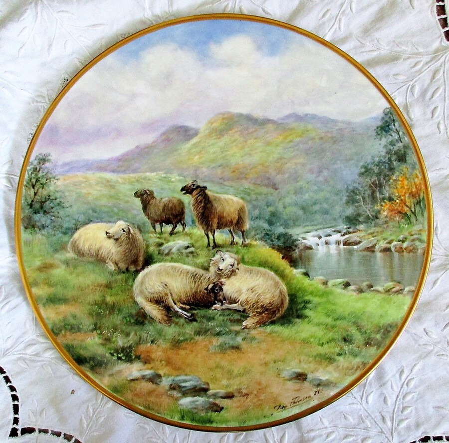 "English Porcelain Cake / Cheese Stand ~ ""Highland Sheep"" ~ Reginald Johnson"