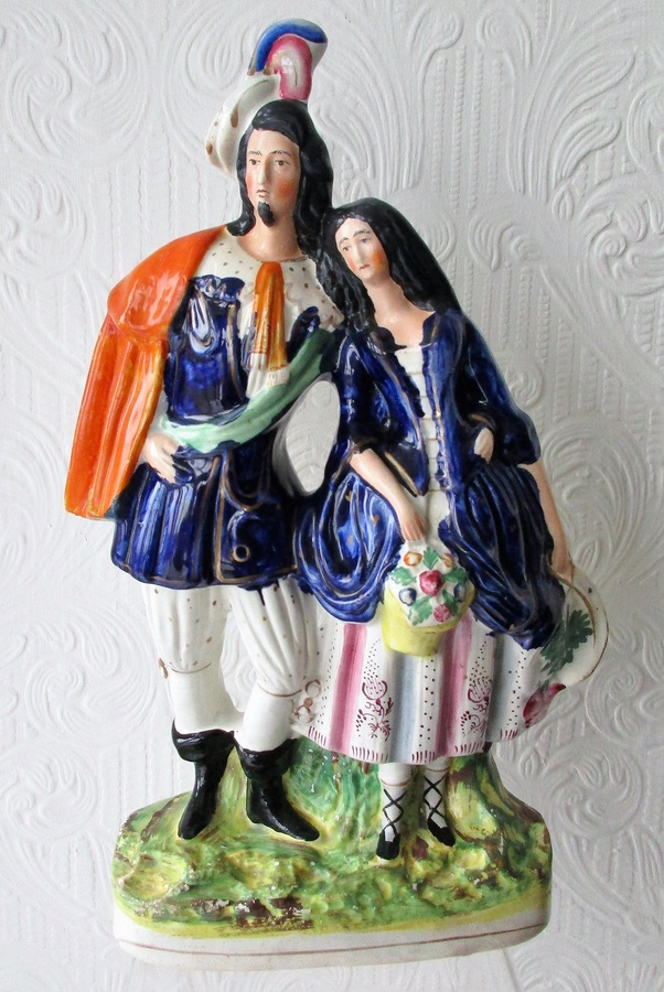 "Antique English Victorian Staffordshire Pottery Figure ~ ""A Gallant and his Sweetheart"" ~ H 2021"