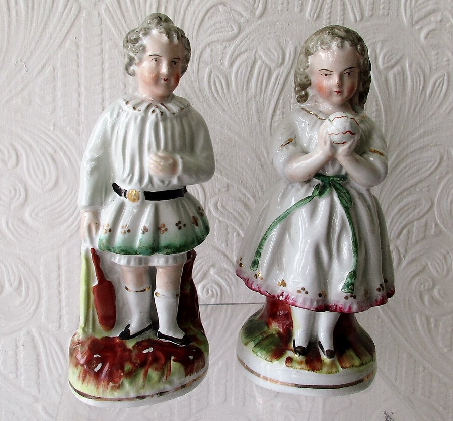 "Pair of Antique English Victorian Staffordshire Pottery Figures ~ ""Children at Play"""