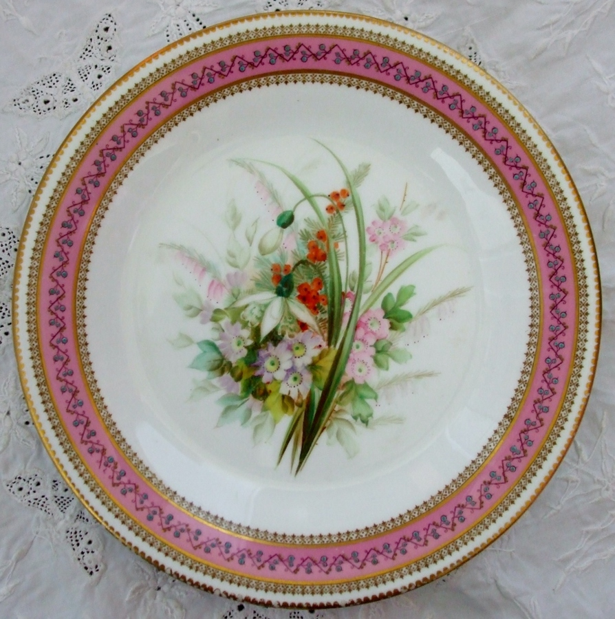 Antique English Victorian Royal Worcester Porcelain Botanical Dessert Plate ~ III of VI