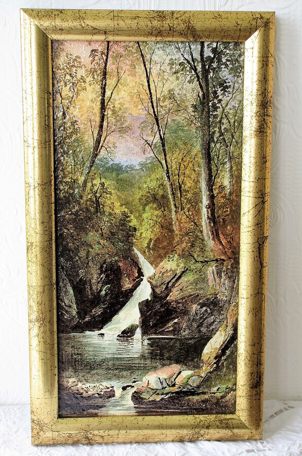 "Antique English Victorian Copeland Ceramic Plaque ""Aira Force ~ Ullswater"" ~  Decorated and Signed by William Yale of Stoke"