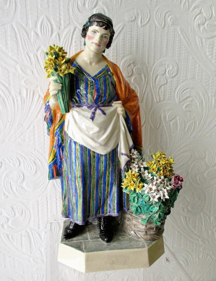 "Vintage English Studio Pottery Figurine ~ ""The Daffodil Woman"" ~ Charles Vyse"