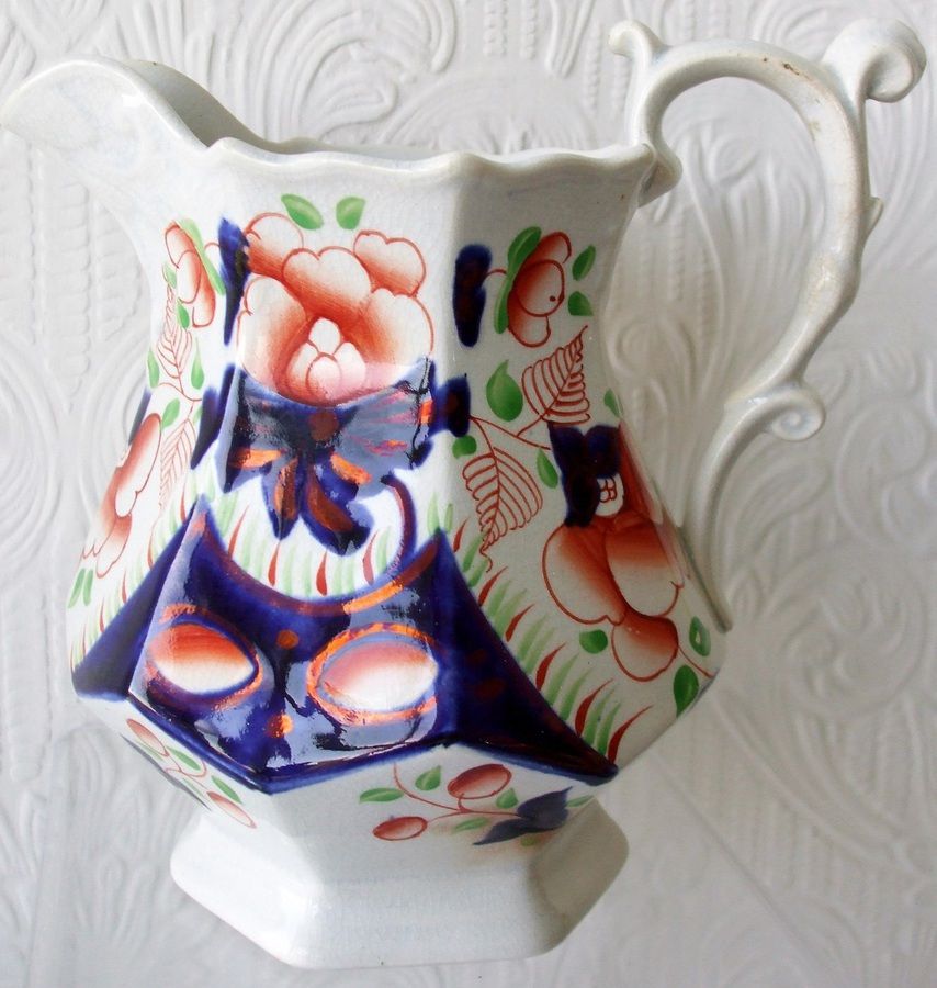 "Antique Victorian Gaudy Welsh ""Cambrian Rose"" Pattern Pottery Jug"