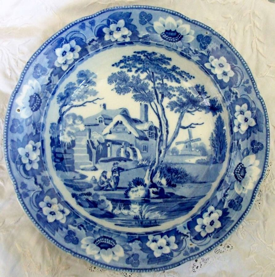 "Antique English Georgian Blue and White Transfer ""Rustic Scenes"" Series ~ ""Resting Time"" Pattern Pearlware Soup Plate ~ John Davenport of Longport"