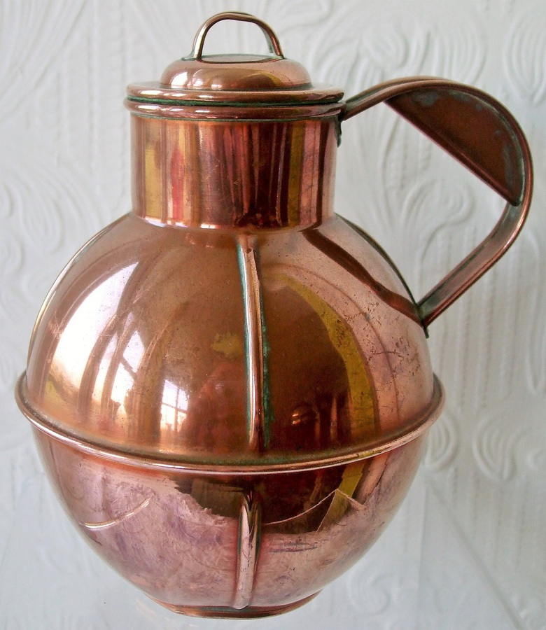 "Antique Victorian Channel Islands ""Pint"" Copper Milk Can and Cover"