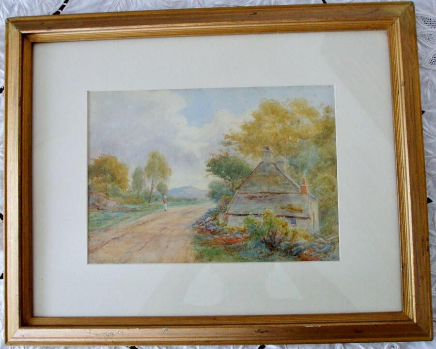 Antique English Victorian Framed Pastoral Watercolour