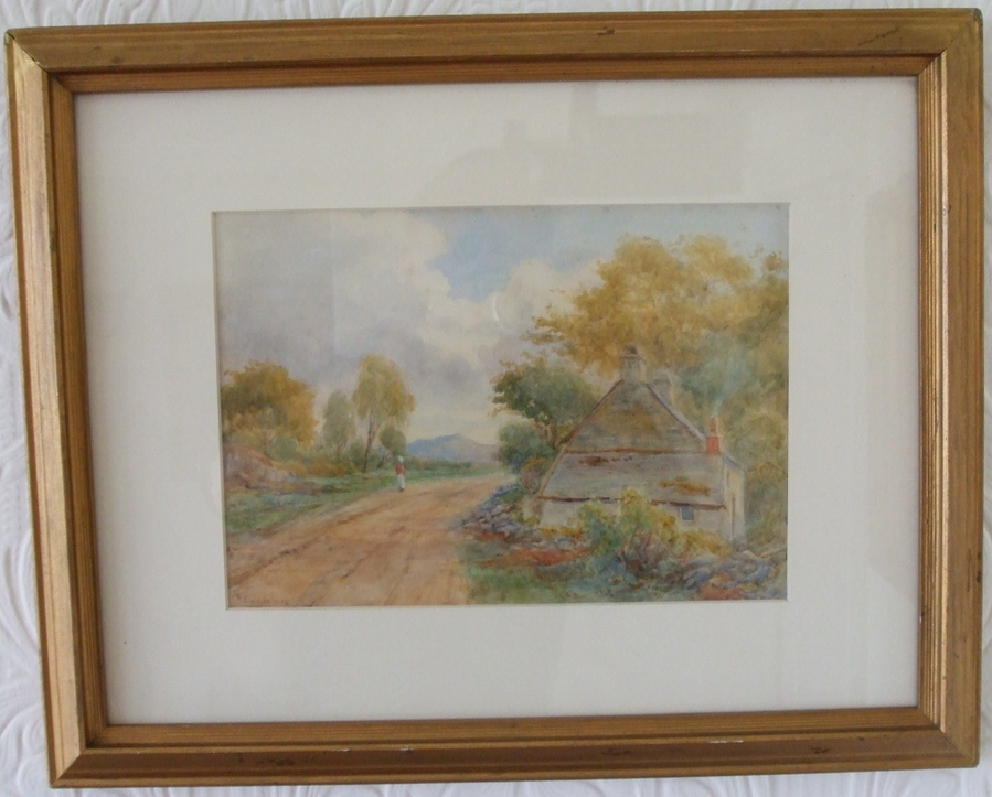 Antique Antique English Victorian Framed Pastoral Watercolour
