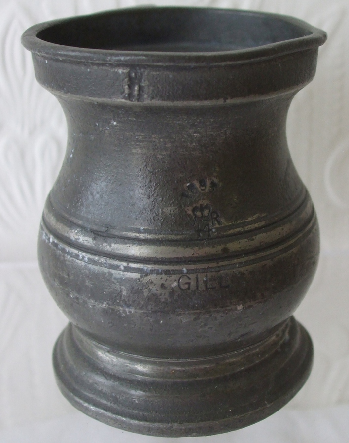 Antique Antique English Victorian Pewter Gill Baluster Measure