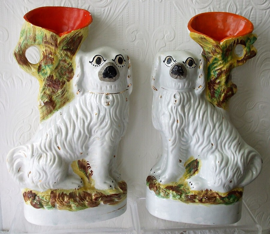 Pair of Antique English Victorian Staffordshire Pottery Spaniel Spill Vases ~ H 2526 ~ H 2527
