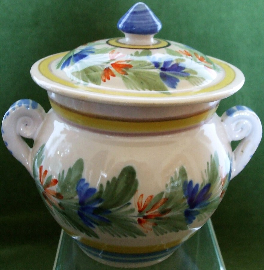 Vintage HR Quimper French Faience Sucrier and Cover