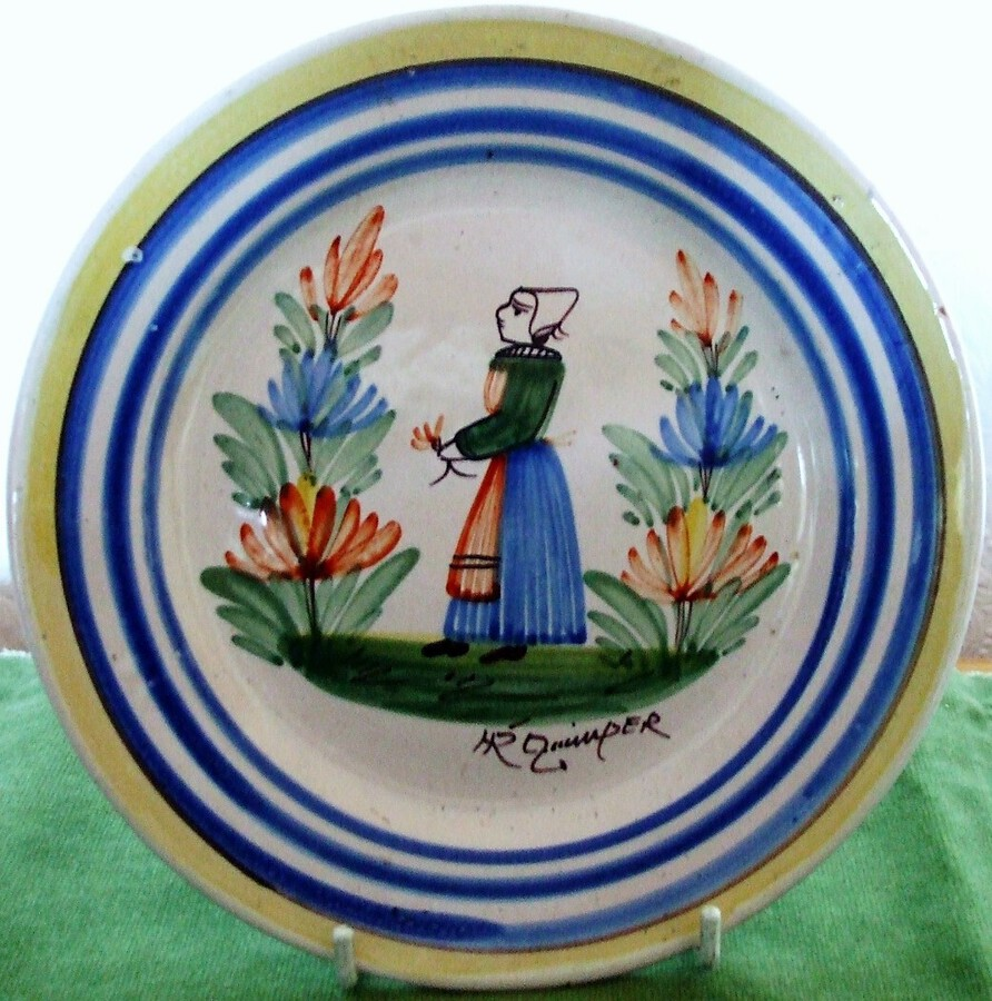 Vintage HR Quimper French Faience Plate