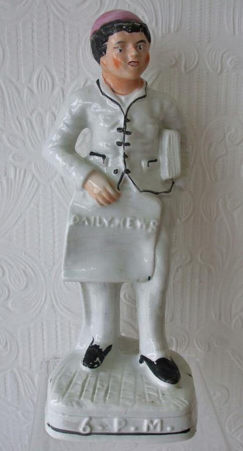 "Antique English Victorian Staffordshire Pottery Figure ~ ""6. P. M."" ~ H 2186"