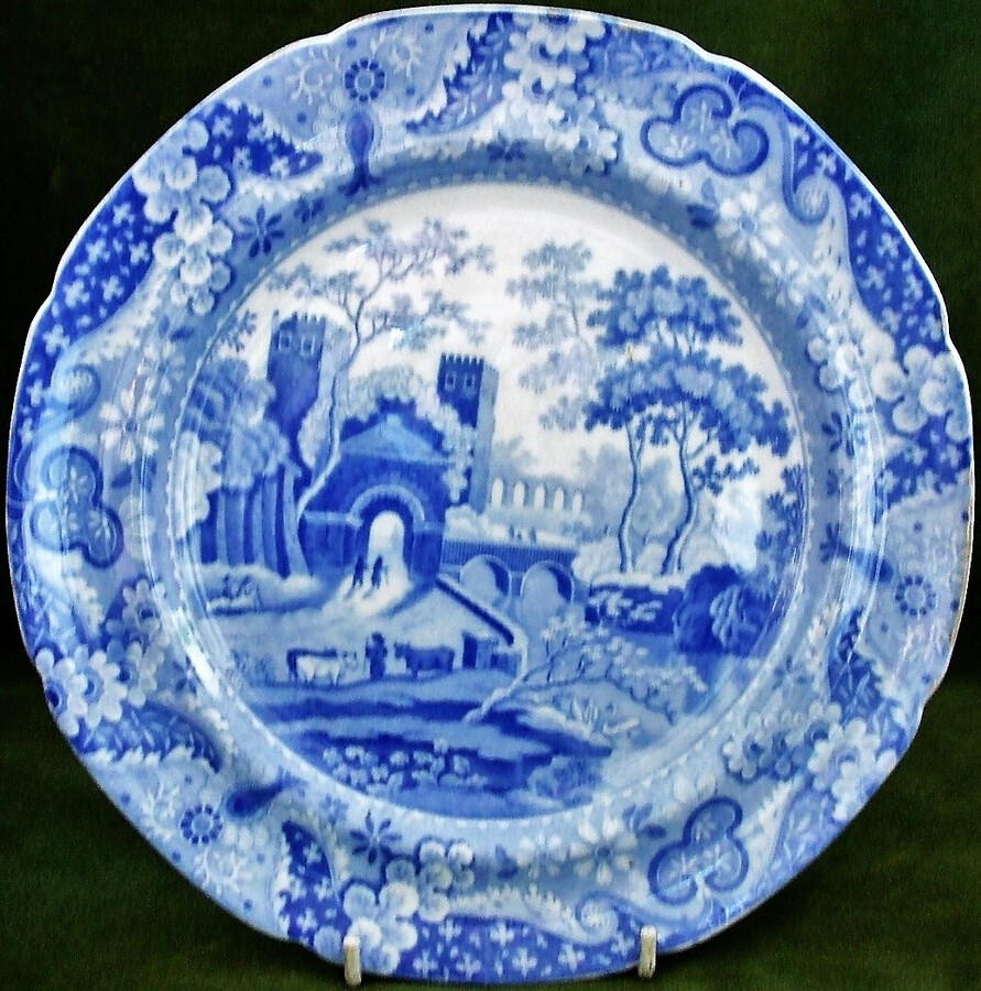 "Antique English Georgian Blue and White Transfer ""Castle"" Pattern Pottery Plate ~ Spode"