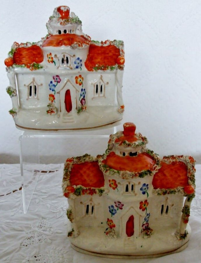 Pair of Antique English Victorian Staffordshire Pottery Pastille Burners ~ H 3265