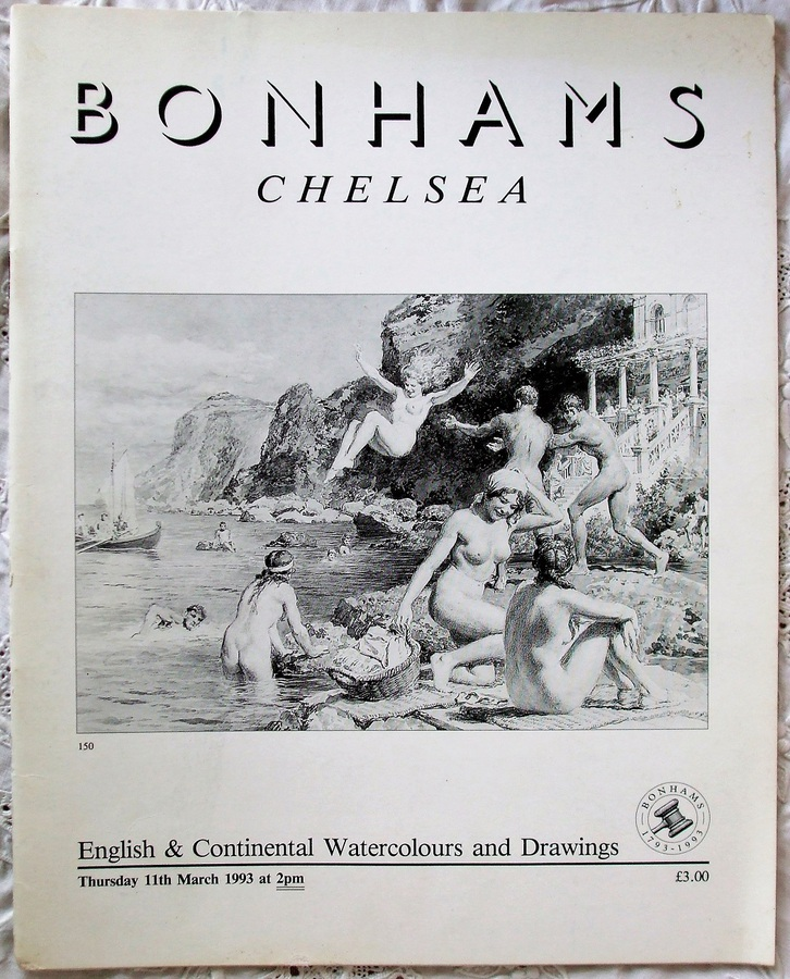 Antique Bonhams Chelsea ~ English & Continental Watercolours and Drawings ~ London ~ 11. 03. 1993