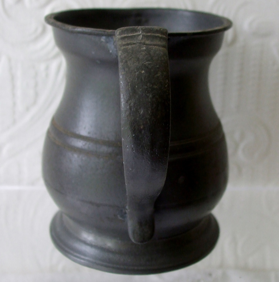 Antique Antique English Victorian Pewter Half Pint Baluster Measure ~ Gaskell & Chambers ~ Cotterell O.P. 1821