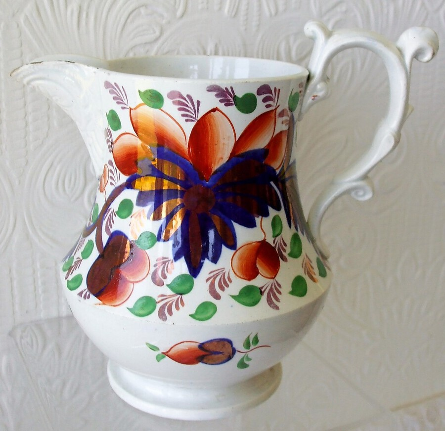 "Antique Antique Victorian Gaudy Welsh ""Grape"" Pattern Pottery Jug"