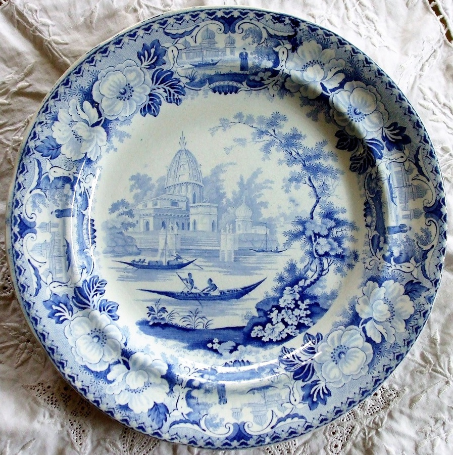 "Antique  English Georgian Blue and White Transfer ""Surseya Ghaut Khanpore"" Pattern Pottery Plate ~ ""Oriental Scenery Cartouche"" Series ~ Sack 4-15"