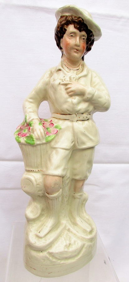 Antique English Victorian Staffordshire Pottery Figure of a Gardener