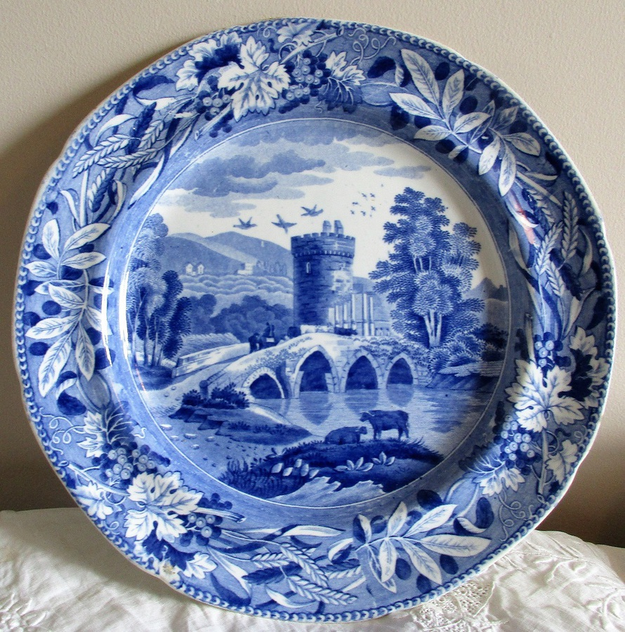 "Antique English Georgian Blue and White Transfer ""Bridge of Lucano"" Pattern Pottery Plate ~ Spode"