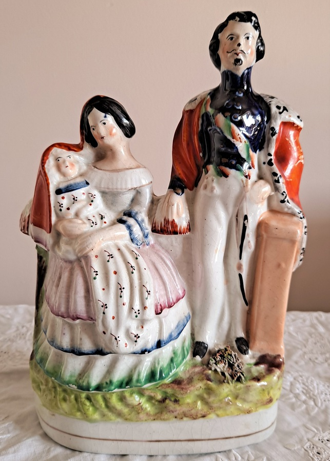 "Antique English Victorian Staffordshire Pottery Royal Portrait Figure Group ~ ""Napoleon III, Empress Eugenie and the Prince Imperial"" ~ P C81 ~ H 747"