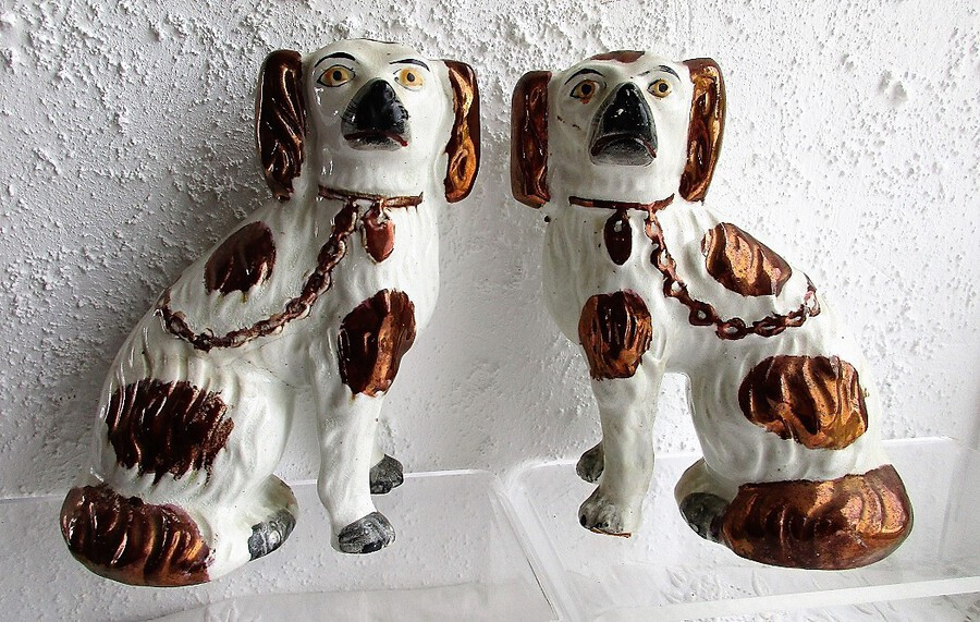 Antique Pair of Antique English Victorian Staffordshire Pottery