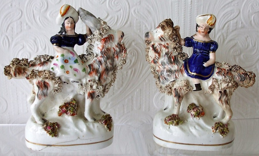 Antique Pair of Antique English Victorian Staffordshire Pottery Royal Portrait Figures ~