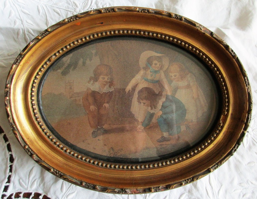 Antique Pair of Antique English Georgian Giltwood Framed Stipple Engravings