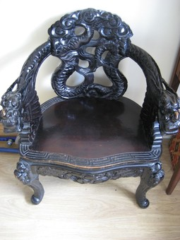 Antique RARE Vintage Chinese Emperor Rosewood Throne Chair c1830 Beautifully Carved Dragons - Superb!