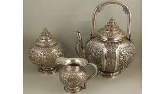 Silver Tea Set Indonesia XIX / XX Century Three-Piece