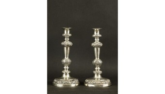 PAIR OF CANDLESTICKS, SILVER, DELLEVIE, HAMBURG, CIRCA 1850