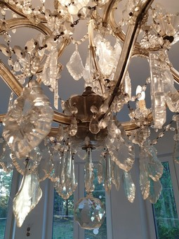 Antique French Crystal and Glass Marie Therese Chandelier with Fifteen Light '2 Levels'