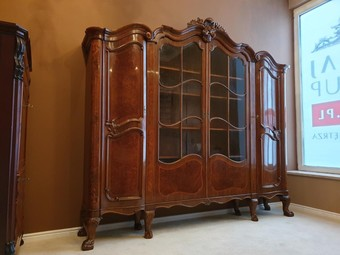 Antique Walnut Display Vitrine in Rococo Revival Style, Early 20th Century