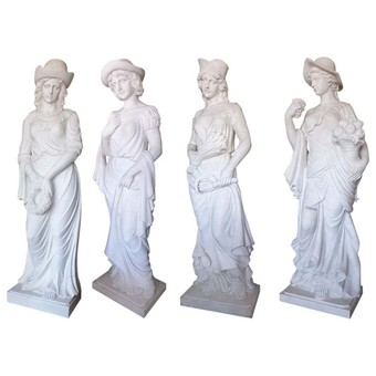 Four Seasons, White Marble Statues Suite 2.5 Meter High Set of Four