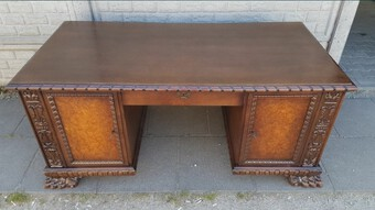 Antique Renaissance Revival Style Desk with Walnut Burl 20th Century Interwar Period