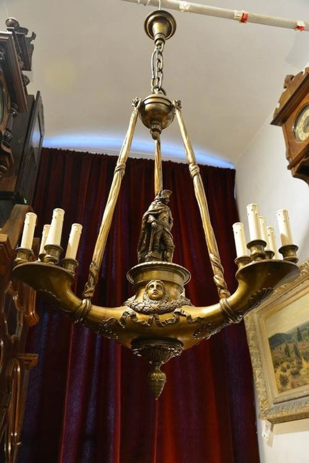 Unique Original figural chandelier bronze 19th century