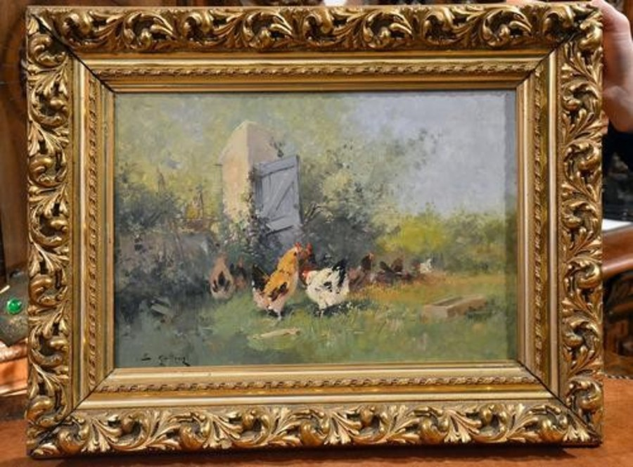"Unique Oil painting ""Hens ""Eugène Galien-Laloue (1854-1941)."
