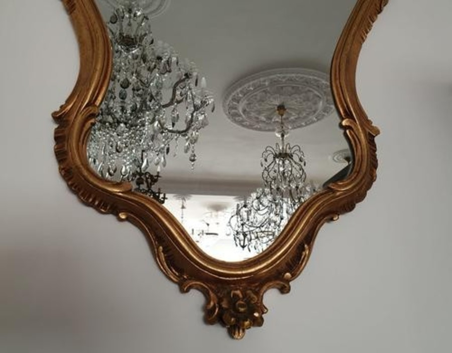 Antique BEAUTIFUL MIRROR IN A GILDED FRAME - A NEOROCOCO