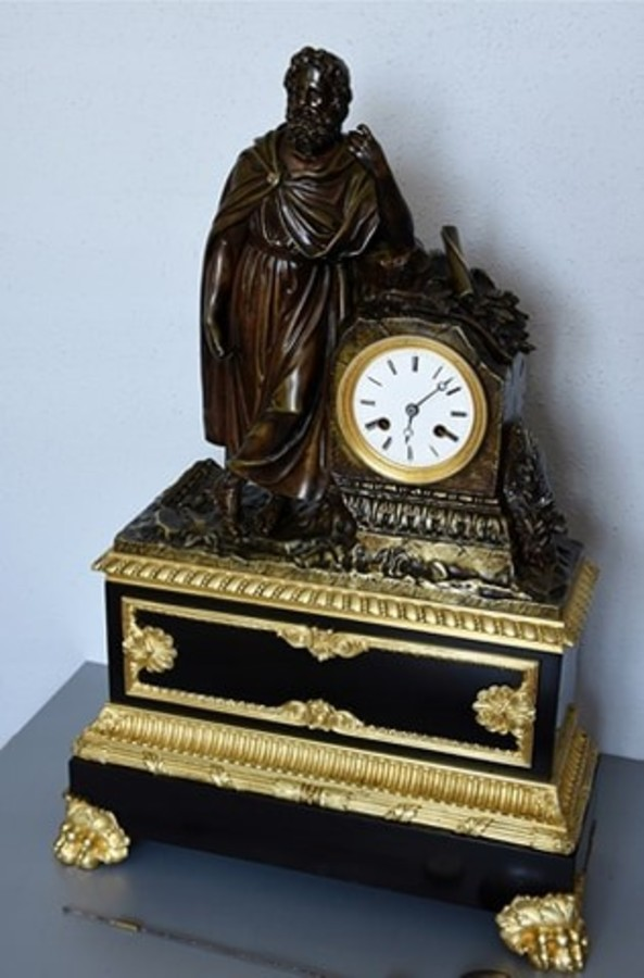 Fine French Empire Bronze Antique Mantel Clock by Honoré Pons, circa 1827