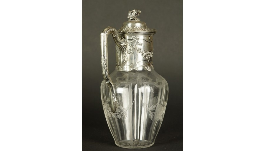 WINE JUG, TETARD FRERES, SILVER, GLASS,