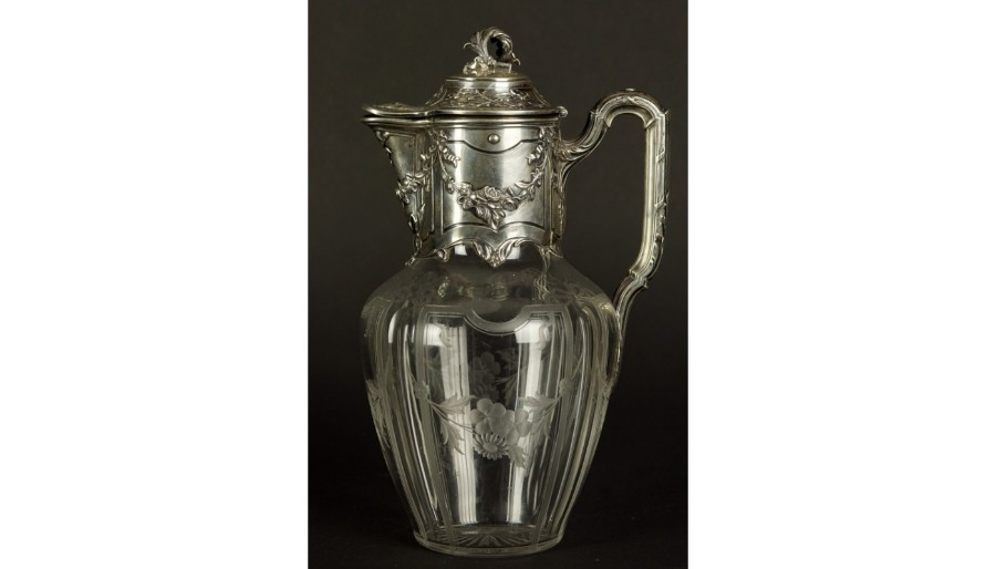 Antique WINE JUG, TETARD FRERES, SILVER, GLASS,