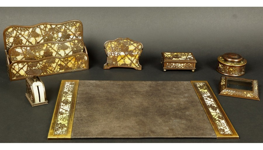 Tiffany & Co. Studios New York Seven Piece Bronze Desk Set Early 20th Century