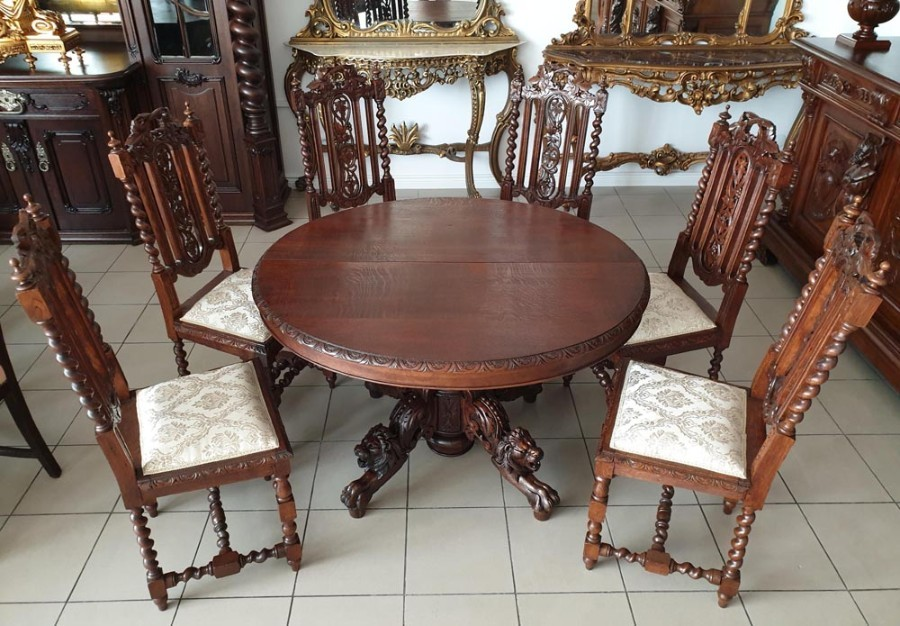 Renaissance Revival Style Folding Table and Chairs Set, Table + 6 Chairs