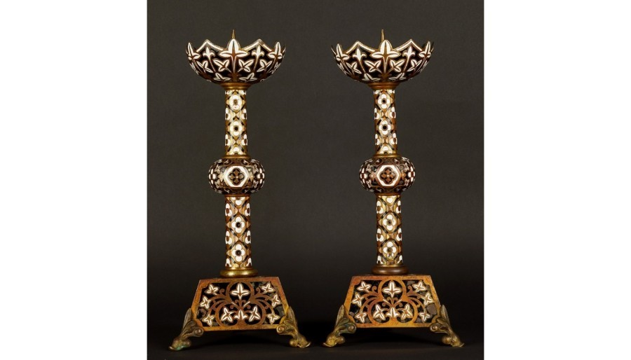 Pair Antique Gilded Bronze Enamel Candlesticks IBERIAN PENINSULA 19TH