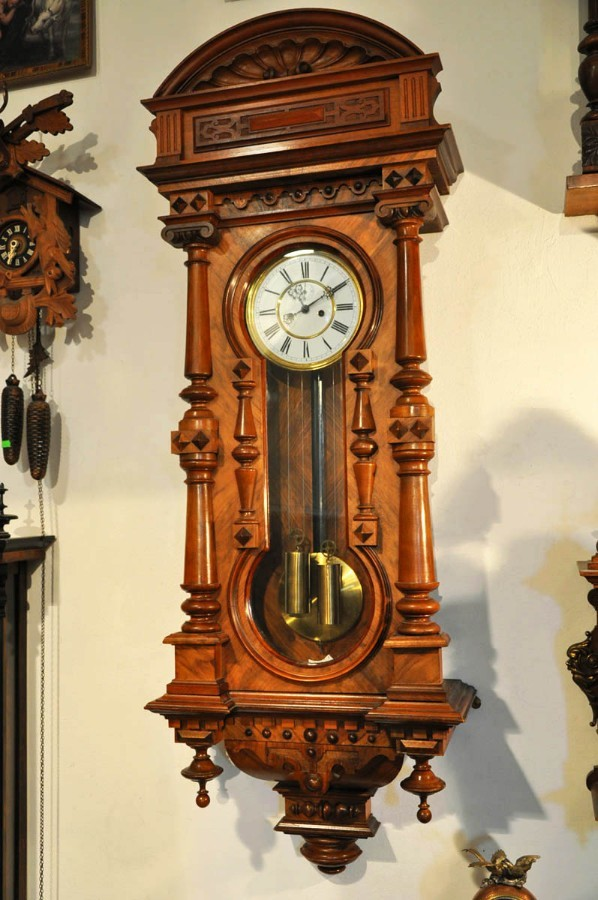 Antique Wall Clock Gustav Becker, 145 cm! 19th